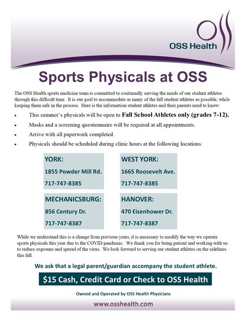 Sports Physicals at OSS Flyer