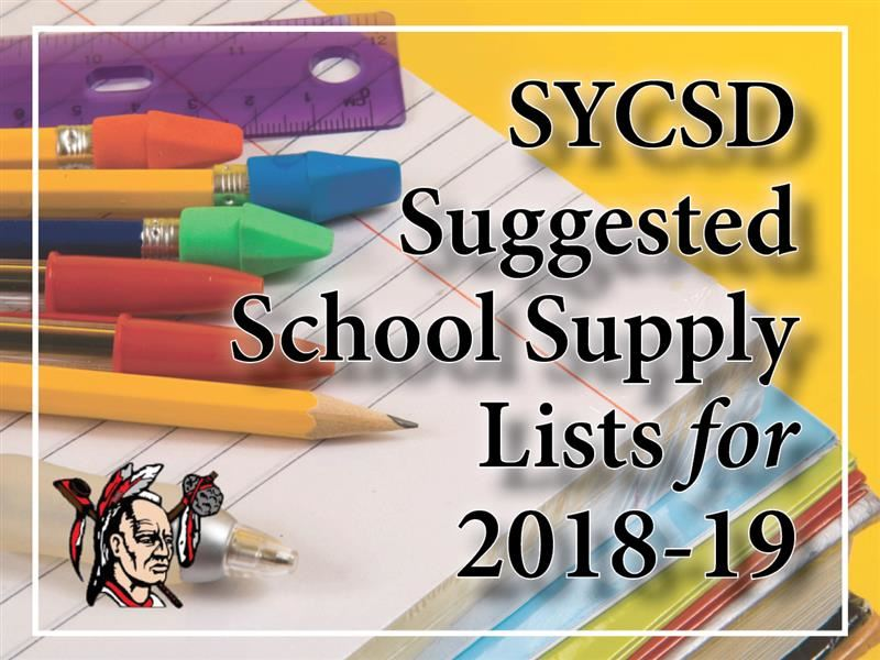 Suggested School Supply Lists for 2018-19 are Available